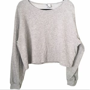 H&M Divided Grey Boat Neck Crop Sweater